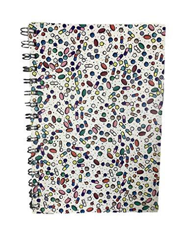 Cápsula de medinc / medicación / farmacología A5 Cuaderno con látigo alineado con 200 páginas Ideal organizador de diario, regalo de practicante o graduación de enfermero