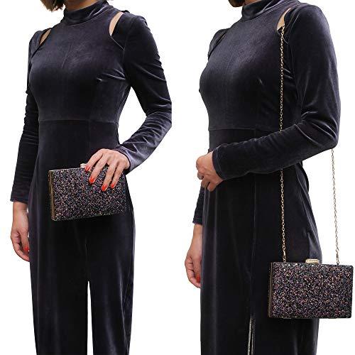 Women's Elegant Sparkling Glitter Evening Clutch Bags BlingEvening Handbag Purses For Wedding Prom Bride(Light Blue)