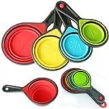 GeekBox 4 Faltbare Silikon-Messbecher ideal zum Kochen und Backen (BPA-frei), Rutschfester Griff, spülmaschinenfest