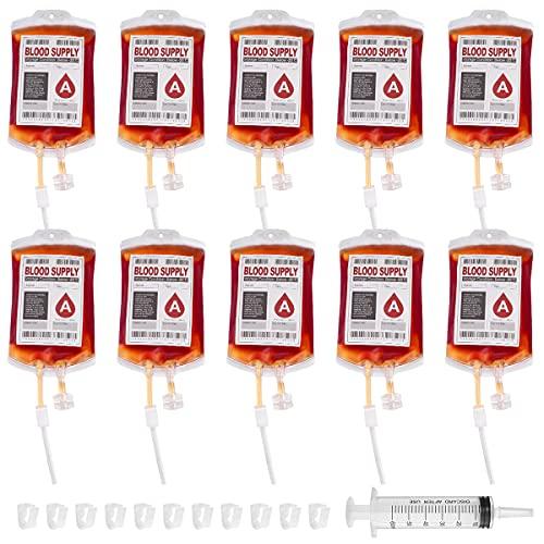 10 Stück Halloween Trinkgefäß Blutbeutel Zum Befüllen Blutbeutel IV Taschen Getränkebehälter mit Spritze Clips Blutart Aufkleber für Halloween Zombie