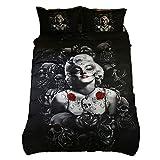 Home4Joys Rose Skull Sexy Marilyn Monroe Bedding Sets Pillows Case Duvet Cover, Comforter Cover Set Queen Size Black (No Comforter Inside)