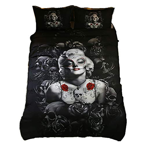 Home4Joys Rose Skull Sexy Marilyn Monroe Bedding Sets Pillows Case Duvet Cover, Comforter Cover Set Queen Size Black (No Comforter Inside)