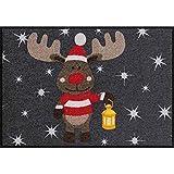 Salonloewe Fußmatte Weihnachten Elch Rudi mit Laterne Schmutzfangmatte waschbar rutschfeste Fussmatte für Jede Haustür aussen + innen 50x75 cm anthrazit rot