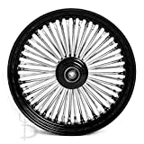 Demon's Cycle 16' x 3.5' Black 48 Fat Spoke Front Wheel, Compatible with Harley-Davidson Single Disc