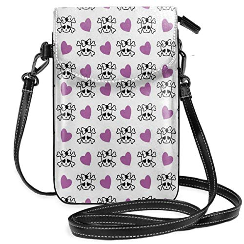Trista Bauer Femmes Petit téléphone Portable Sac à Main bandoulière, Abstrait Arrangement Floral Doodle Style pétales et Feuilles Classique rétro Nature