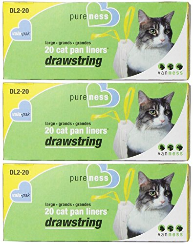 Pureness Large Drawstring Valu-Pak Cat Pan Liners, 20 Count (Pack of 3)
