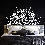 Dormitorio Cabecero Boho Decoración Bohemia Medio Mandala Tatuajes De Pared Ornamento De Yoga Vinilo Etiqueta De La Pared Decoración Mural Autoadhesiva En Blanco Y Negro 112 * 57Cm