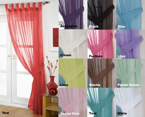 John Aird Woven Voile Tab Top Curtain Panel - Free Tieback Included (Red, 60' Wide x 48' Drop)