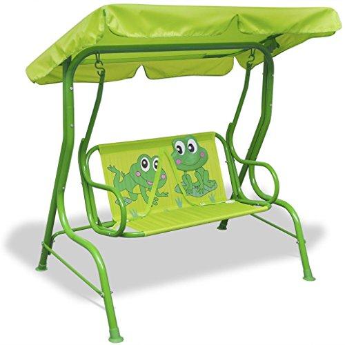 tidyard Kinder-Hollywoodschaukel Schaukel mit Sonnendach Gartenschaukel Kinderschaukel Frosch-Muster