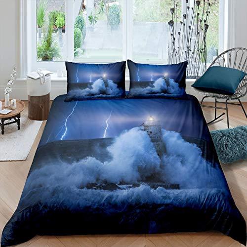 Loussiesd Juego de cama con diseño de océano para niñas, niños y adultos, funda de edredón decorativa, diseño de torre de vigilancia