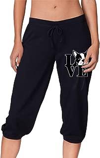 Boston Terrier Love Women's Capri Pants, Running Beam Trousers