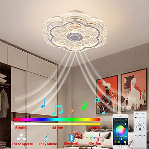 Ventilador De Techo con Luz Control Remoto Velocidades De Viento Ajustables Invisible Ventilador con Iluminación Regulable De 3 Colores con Temporizador De Ventilador para Sala De Estar Comedor