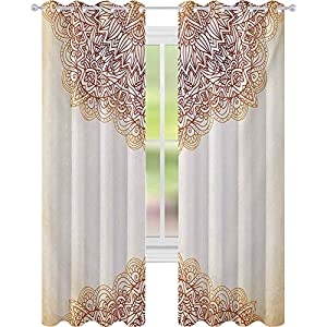Blackout Curtains Bedroom, Artistic Oriental Vintage Ornate Pattern Henna Style Artwork Print, Curtains for Baby Nursery Room, Beige