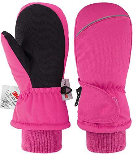 Manoplas para niños Guantes para niños 3M Thinsulate Extremely Warm, a prueba de viento, impermeables, de invierno, guantes de esquí Para niños y niñas Rosado M 4-6 años