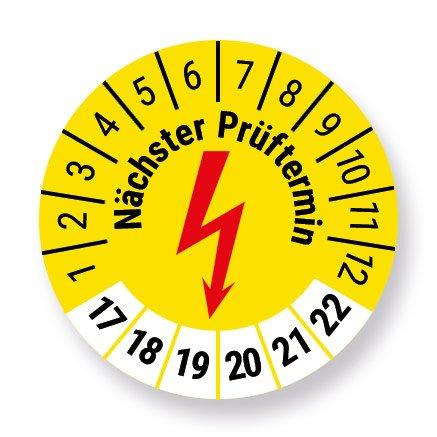 Elektro-Check testplaatje stickers, geel, Ø 30 mm, jaar 2017 tot 2022 met UV-beschermlaminaat, testlabel, teststicker, geel, 50