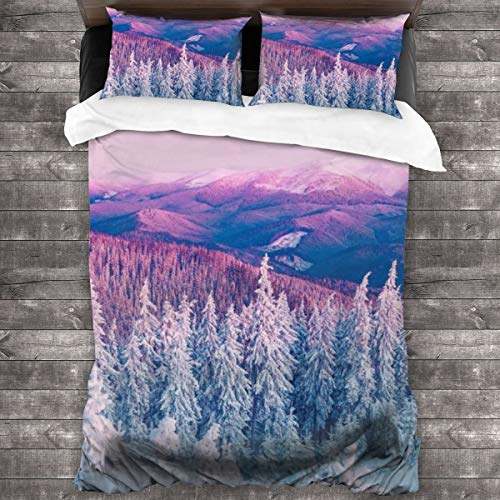 AIMILUX Duvet cover,Beautiful Natural Landscape,Winter Mountains And Forest Covered With Heavy Snow,Purple Blue Sky,Comfortable and soft Microfibre quilt cover 240x260cm,2 Pillowcase 50X80cm