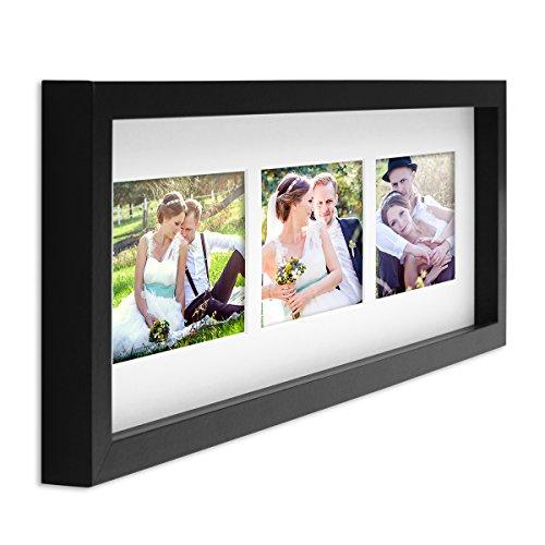 PHOTOLINI Fotocollage-Bilderrahmen Modern, Schwarz, MDF-Objektrahmen, Bildergalerie-Rahmen Tief für 3 Bilder 10x15 cm, 3D-Rahmen mit Passepartout