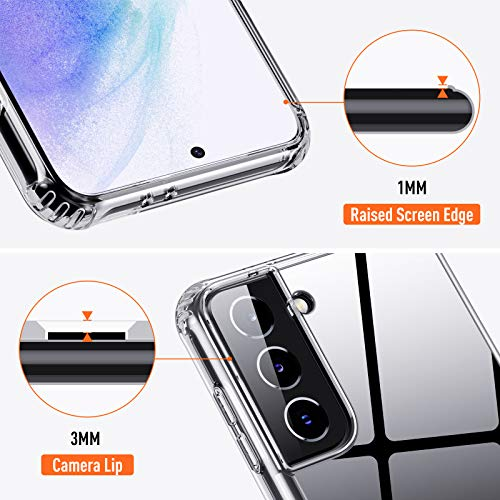QITAYO Hybrid Clear Kompatibel mit Samsung Galaxy S21 Hülle,Transparent Silikon Handyhülle Schutzhülle Case Crystal Clear für Samsung Galaxy S21