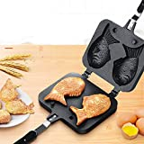 m·kvfa Portable Japanese Pancake Maker Fish-Shaped Bakeware Waffle Pan 2 Cast Home Cake Tools Gift for Christmas New Home Holiday