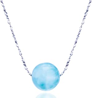 CloseoutWarehouse Larimar Round Plumeria Design Drop Pendant Necklace Sterling Silver