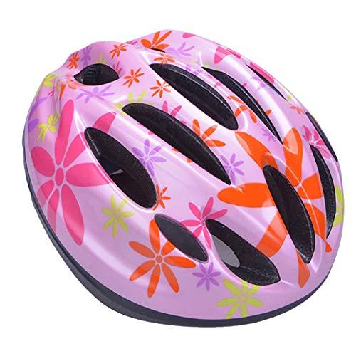 kaakaeu Kinderhelm Verstellbarer Kopfschutzhelm Für Fahrrad Longboard Skateboard Rollschuh Radfahren Pinke Blume S.None