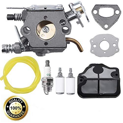 Carburetor W/Air Filter Spark Plug Replacement for Husqvarna 36 41 136 137 137E 141 142 141LE 142E Husky Chainsaw Zama C1Q-W29E Carb Walbro WT-834 WT-657 WT-529 WT-289 WT-285 WT-239 WT-202