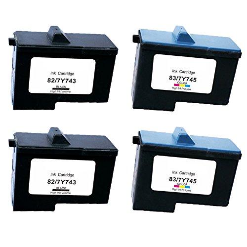 Karl Aiken 4x (2noir/2couleur) Cartuchos de Tinta Lexmark 8283Compatible con Lexmark X5100X 5150X5200X 6100X6150X 6170X6190Pro, X65, Z55Z55se Z65Z65N Z65p Impresora