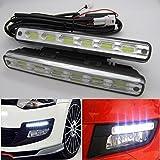 2pcs x 6 COB LED feux/lampe/ampoule de voiture Diurne de Conduite DRL TFL (blanc froid 6000K) E-mark E4