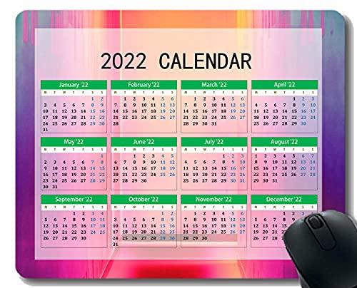 Calendario 2022 año Alfombrilla De Ratón, Vrschenie Fondo De Color Luz Anti resbalón Rosfombrillas De Ratón