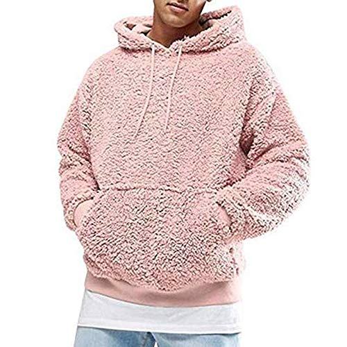 Sczz Hoodie Herren Pullovers Herren Casual Bequemes Herren Hoodie Neu Teddy Fleece Lockerer Weicher Herren Hoodie Warmer Unisex Mode Jugendliche All-Match Sportstil Hoodie D-Pink M
