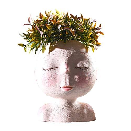 Gifts Ornaments House Decor Vaas Nordic Human Head Vaas met bloemen Shape Doll Sculptuur Portret van Resin Vase of Flowers Vase Kunst Succulent vaas van Head Shape