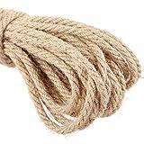 jijAcraft 20M Cuerda de Cáñamo 6mm Cuerda de Yute Gruesa para Manualidades,Decoración,Jardinería,Gato Rascarse
