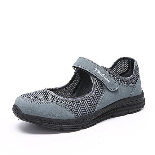 Damen Outdoor Fitnessschuhe Atmungsaktive Mesh Schuhe Sport Slipper mit Klettverschluss, Gray, 37 EU