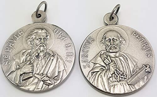 Christshop Heiliger Simon Petrus/Paulus von Tarsus Schutzheiligenmedaille 22mm aus Neusilber, mit Kautschukband