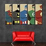 ZEMER 5 Stück Leinwanddrucke Wandkunst, Comics Superhelden