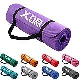 Esterilla gruesa de 15 mm y acolchada de Xn8 Sports con tiras para yoga, aerobic, pilates o gimnasio (Púrpura)