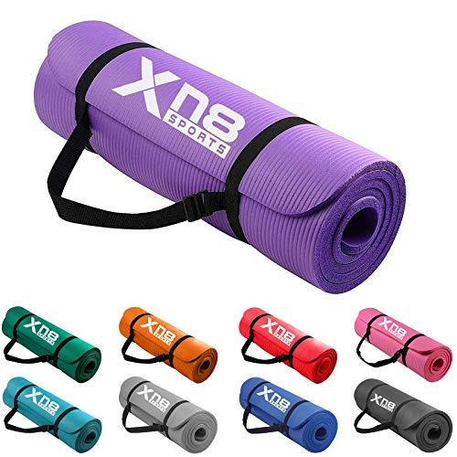 Xn8 Tappetino Yoga 15mm Di Spessore Imbottito-Antiscivolo Tappetino per Palestra-Pilates-Aerobico-Fitness-Esercizi a Casa con Cinghie (Viola)