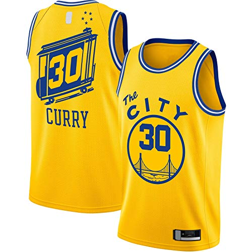 DAEYU producto popular Amarillo - Curry Traning Jersey Baloncesto Jersey Golden Sportswear Stephen sin mangas Warriors #30 Hardwood Classics Acabado Swingman Jersey State City Classic Edition-XXL