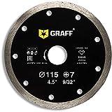 GRAFF Disco diamantato 115 mm per Smerigliatrice angolare - Disco da taglio per Piastrella, Ceramica - 4.5 inch