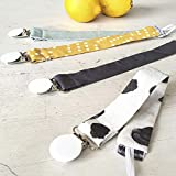 Mimuselina Pack 4 Chupeteros Bebé | Portachupetes Rectangular, Estampados Modernos y Clásicos, 100% Algodón, Color Energy Amarillo, 27 x 2,5 cm