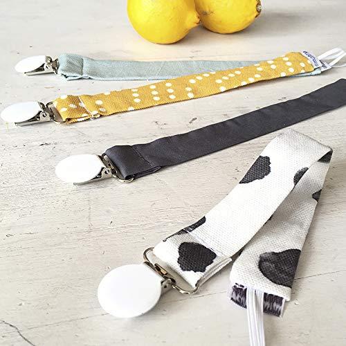 MIMUSELINA Pack 4 chupeteros sujetachupetes con clip metálico. Cuelga chupetes. Chupetero de tela bebé con goma para chupete y pinza para agarrar a la ropa (Energy)