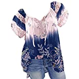 Womens Loose Plus Size Floral Print T-Shirt Tee S-5XL, Lace Ruffle Short Sleeve V-Neck Basic Top Tie Dye Ugly Shirt Blouse Pink