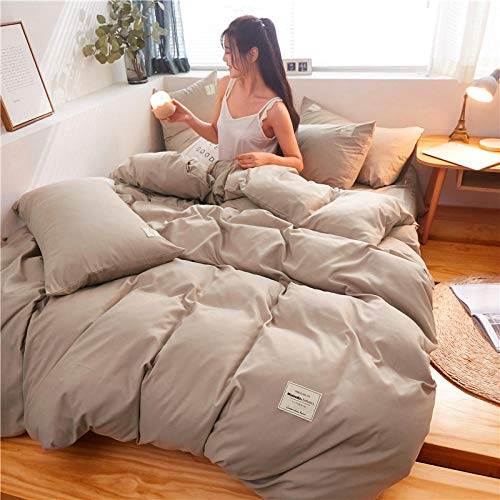Eastbride Microfiber Bedding Duvet Cover,Printed Quilt Cover Set,A four-piece set on a solid color double bed, skin-friendly and seamless bed linen-Khaki_Super King