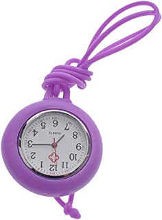 NICERIO Nurse Pocket Watch Medical Watch Silicone Nurse Pocket Hanging Watch Solid Color Nurse Round Watch