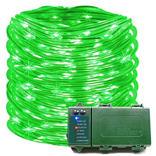 Rope Lights 39 Ft 120 LED Battery Operated String Lights Waterproof Christmas Decorative Fairy Lights for Outdoor Indoor Party Patio Garden Yard Holiday Wedding (Green)