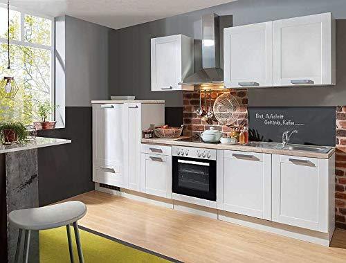 idealShopping GmbH Landhaus Küchenblock Premium 300 cm mit Glaskeramikkochfeld in Lacklaminat Weiss