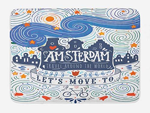 ABAKUHAUS Amsterdam Tappetino da Bagno, Parole Camere del Canale di Viaggio, Vasca Doccia WC Tappeto in Peluche con Supporto Antiscivolo, 45 cm x 75 cm, Multicolore