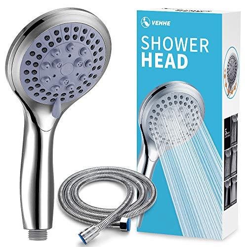 VEHHE soffione doccia con 1.5m Tubo, 5 Modi Funzione soffione doccia alta pressione, Risparmio Idrico, Soffione Per Doccia Universale Dimensione Collegare, doccia soffione con tubo doccia