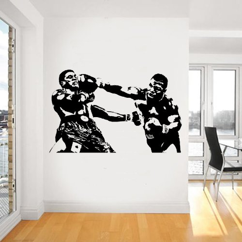 Loud Designs Mike Tyson Boxing Wall Art Sticker Sports Vinyl Mural WA616, Black, Large 143cm(w) X 90cm(h)