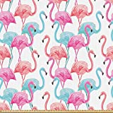 ABAKUHAUS Aquarell Stoff als Meterware, Hawaii Flamingos,